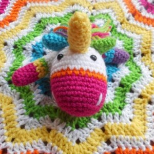 Rainbow Bright Crocheted Unicorn Baby Lovey