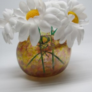 Small Handmade Yellow  and Red Glass Vase