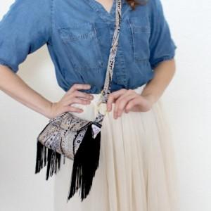 Fringe Crossbody Bag Black Vegan Leather Paisley Purse Shoulder Bag - by Katie Gariepy