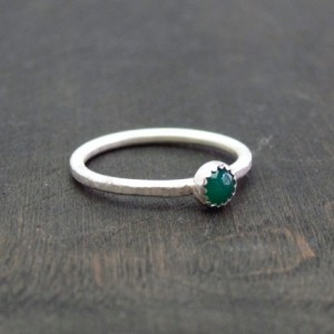 Size 5 3/4 Ready to Ship Recycled Sterling Silver Green Onyx Dapple Ripple Ring 1.5mm Handmade Forged Band - stacking ring -