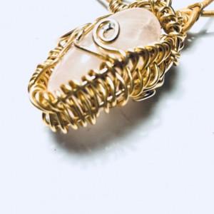 Large Genuine Rose Quartz Pendant Healing Stone Necklace