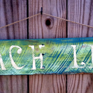 Shabby Distressed Handmade Reclaimed Wooden Beach Life Cottage Sign