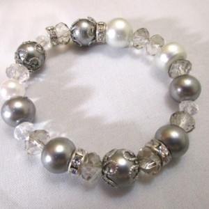 Beaded Bracelet Silver Tone Bracelet. Elastic Stretch Band