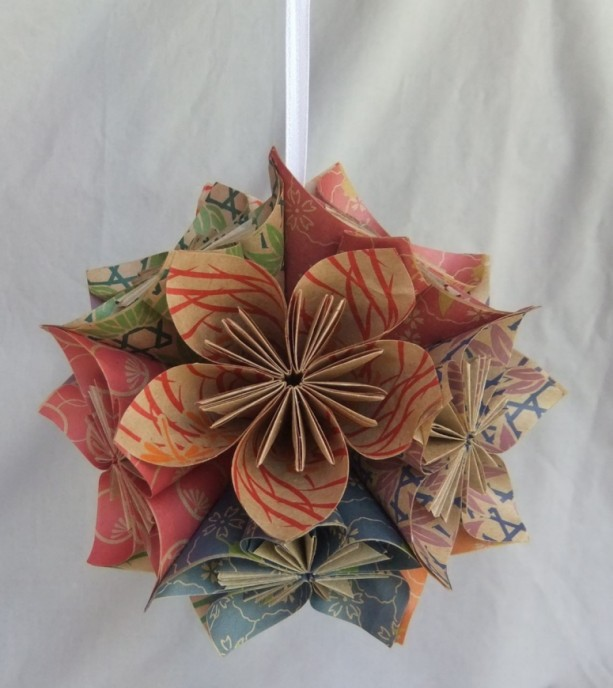 Natural origami christmas tree ornament aftcra the natural origami flower ornament christmas tree ornament christmas decor fan pull mightylinksfo