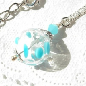 Necklace Pendant Aqua Color Hollow Glass Beads Dot Handmade Blue Summer Hand Blown Beach Resort