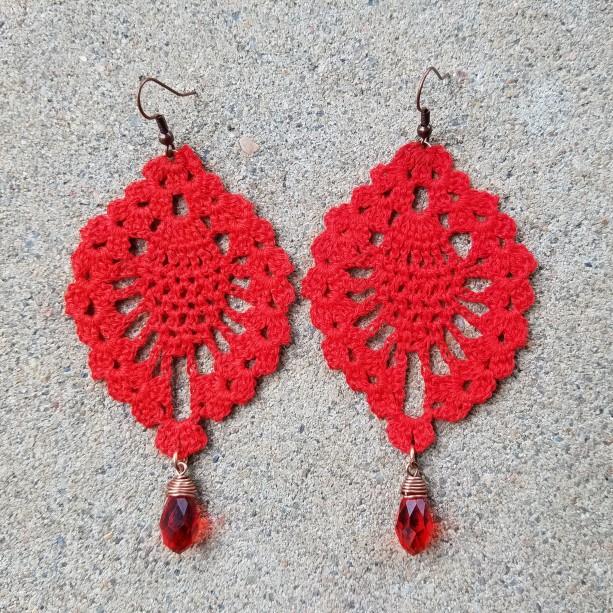 Crocheted Earrings in red