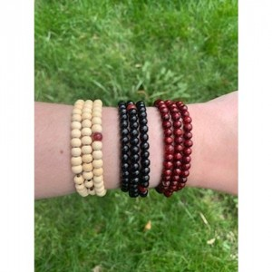 Black Natural Sandalwood Tibetan Buddhist Mala Bead Bracelets, Meditation Bracelet, Yoga Bracelet