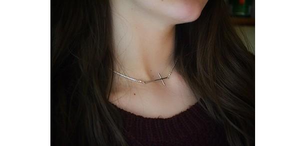 Sideways Cross Necklace