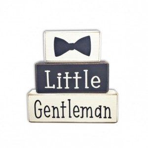 Little gentleman baby shower dapper baby boy stacking wood sign blocks bowtie mustache little man custom personalized shelf sitter