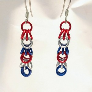 Patriotic dangle earrings chainmaille shaggy loops red white and blue