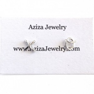 Sterling Silver Alphabet Initial Stud Lowercase Earrings