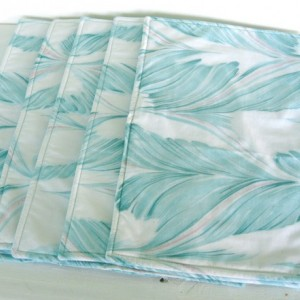Aqua print handmade reversible placemats: set of 5; table linens, luncheon place mats
