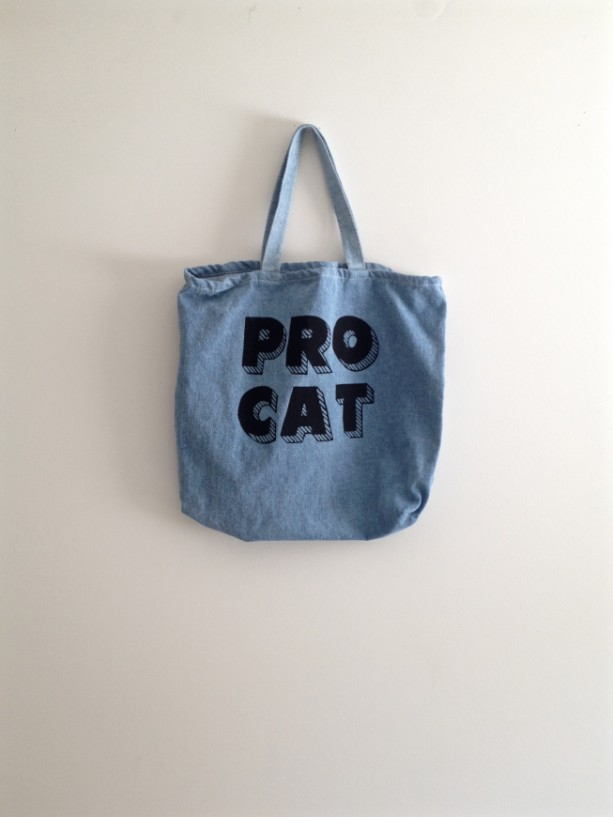 Bleached denim cat tote bag, typography, gift for cat lover, cat lady, canvas tote bag, grocery bag, trick or treating, halloween, cool cat
