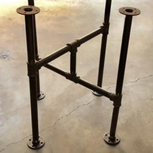 "Industrial Black Pipe Cross Table Base, ""DIY"" Parts Kit, Unique Table Base Design"