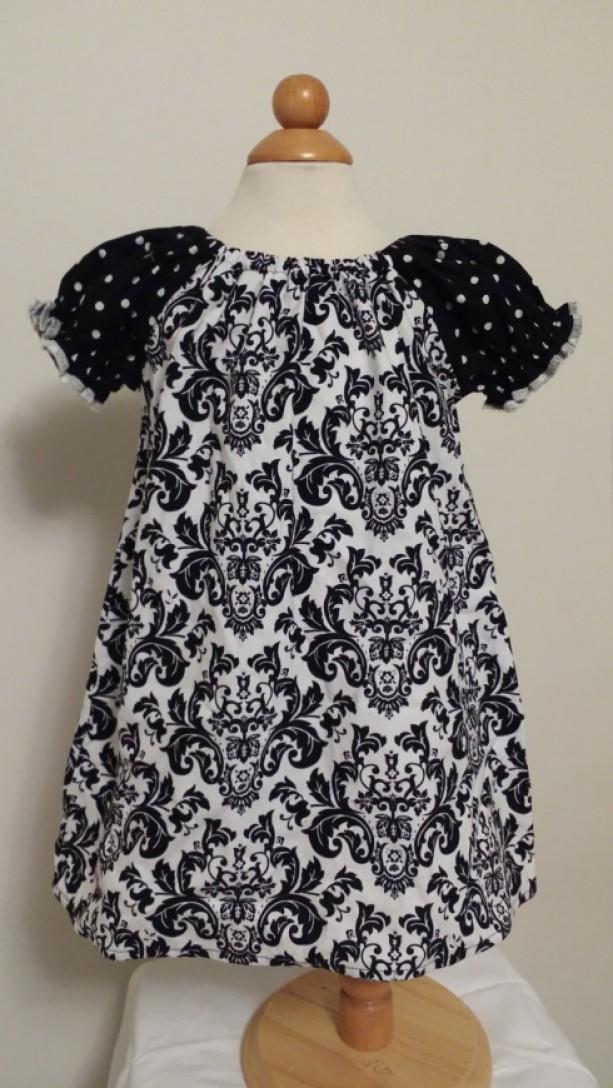Black and White Peasant Dress