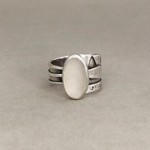 Size 8 White Sea Glass Ring