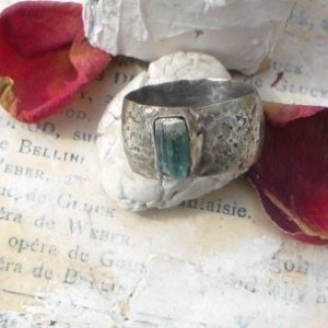 Natural Blue Spinel Baguette and Sterling Wide Distressed Band Ring