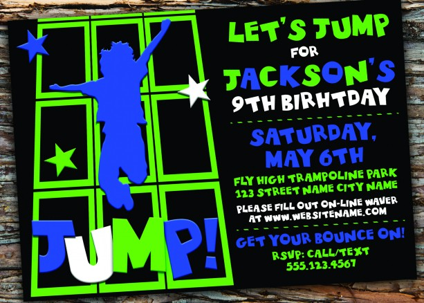 Trampoline/Jump Birthday Party Invitation
