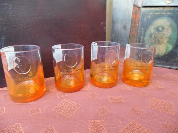 Ciroc Bottle Upcycled Shotglasses,  Set of 4, Orange