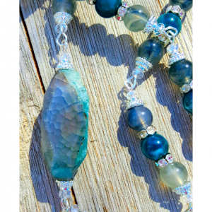 Bead and Stone Wire Necklace Blue and Green Accents
