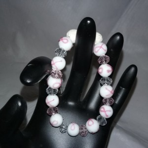 Breast Cancer Crystal Beads w/Lava Stone Diffuser Bracelet