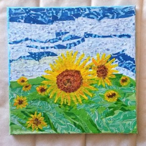 Mixed Media Collage, Sunflowers, 10 x 10 Canvas