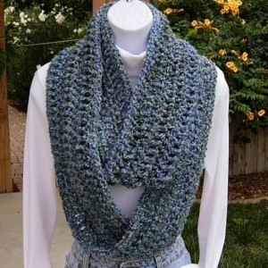 INFINITY SCARF Loop Cowl Blue, Light Purple, Teal Green, Gray Grey. Extra Soft Crochet Knit Winter Endless Circle..Ready to Ship in 3 Days