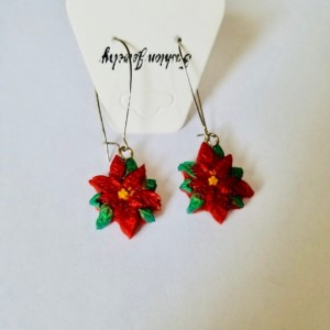 Red poinsettia dangles, X-mas Flower Earrings, Christmas Jewelry, Christmas Dangle Earrings