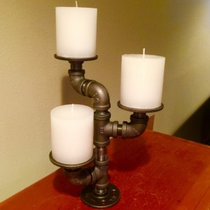 Industrial black pipe candle holder, CANDELABRA,  Loft Style, Urban, Steampunk Decor. Candles included.