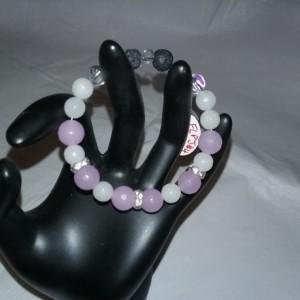 Facet Purple Jade & White Agate Gemstone w/Lava Stone Diffuser Flex Bracelet