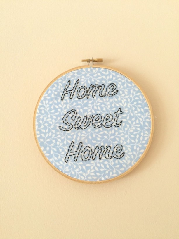 Home Sweet Home Embroidery Hoop Art Wall Hanging