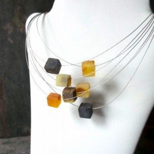 Baltic Amber Necklace , Modern Baltic Amber Jewelry .Raw Amber .