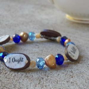 Charlotte Mason Motto Bracelet, Blue and Brown
