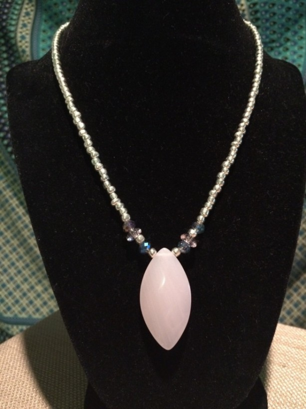 Silver and pink pendant necklace