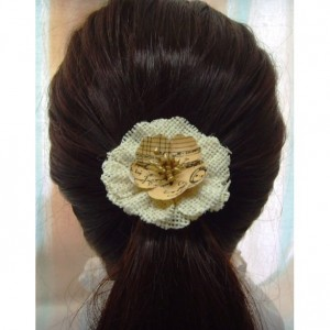 Natural Beige Burlap Flower Hair Clip w/accents - Rustic Country Shabby chick for Women