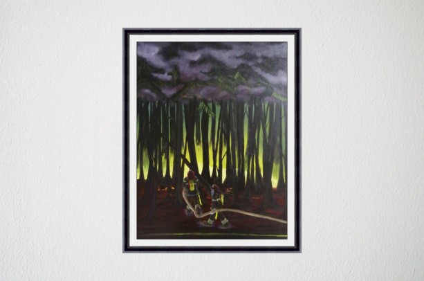 The Brave-acrylic painting of fireman putting out forest fire
