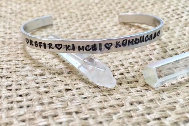 Organic Cuff Bracelet, Kombucha Cuff Bracelet, Crunchy Mom Cuff, Organic Quote Cuff, Vegan Cuff, Organic Stamped Cuff, Organic Hippie Cuff