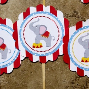 Circus theme cupcake toppers-lion seal monkey elephant (Quantity 24)