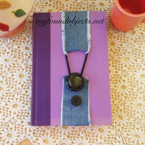 Bookmark, Denim and Green/Black Vintage Buttons