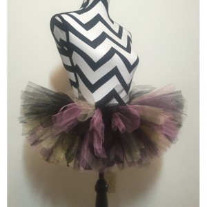 Uptown Girl Black, Gold, and Pink Sparkle Tutu - Children & Pre-Teen Sized