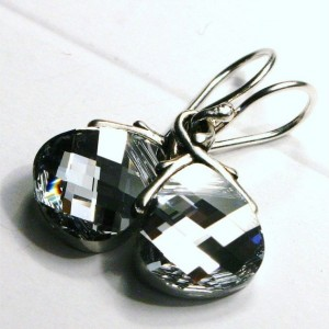Metallic Silver Swarovski Crystal Teardrop Earrings on Sterling Silver