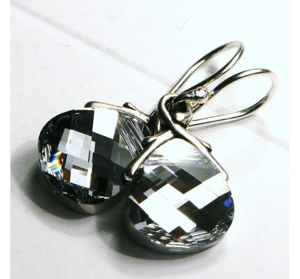 Metallic Silver Swarovski Crystal Teardrop Earrings on Sterling Silver