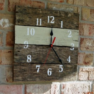 Reclaimed Aged Pallet Wood Wall Clock Uniform Suede, Hand Painted Upcycled Repurposed (74 colors)
