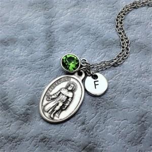 Personalized Saint Peregrine Necklace. Patron Saint of Cancer and AIDS Patients