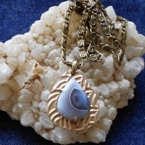Botswana Agate with Bronze Metal Clay Pendant