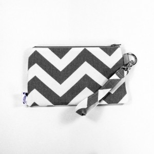 Medium Wristlet Zipper Pouch Clutch - Gray Chevron