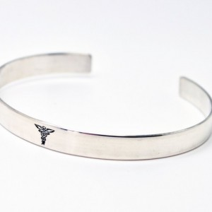 Medical Bracelet,  Personalized Cuff Bracelet, Double Sided Stamping, Sterling Silver, Hand Stamped