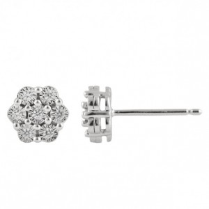 0.1Ct Natural Diamond Round Cut 925 Sterling Silver Wedding Engagement Cluster Earring