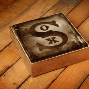 Chicago White Sox Distressed Logo Reclaimed Wood Block