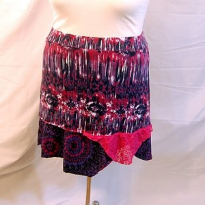 plus size skirt 2X 3X tie-dye pink and purple boho indie romantic lagenlook trendy unique restyled refashioned upcycled altered edgy womens